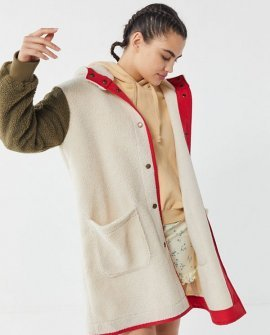 Carson Sherpa Fleece Hooded Longline Coat