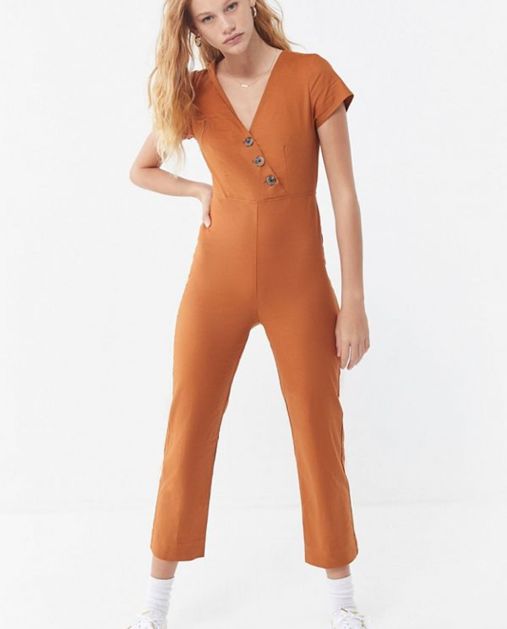 Karen Surplice Button-Down Jumpsuit