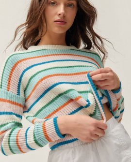 Andi Intarsia Knit Crew Neck Sweater