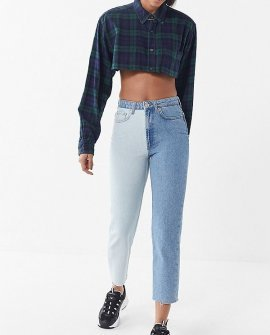 BDG High-Rise Slim Straight Jean – Two-Tone Denim