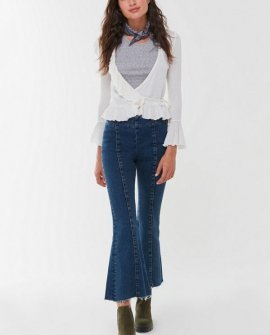 BDG Pintuck Mid-Rise Cropped Flare Jean Dark Wash
